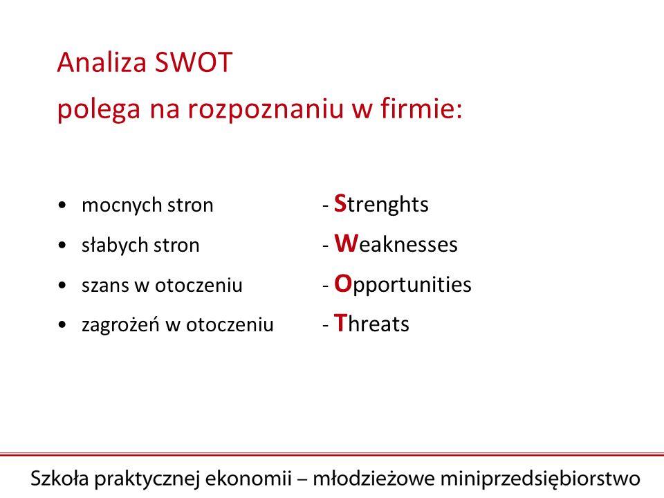 Analiza SWOT polega na rozpoznaniu w firmie: