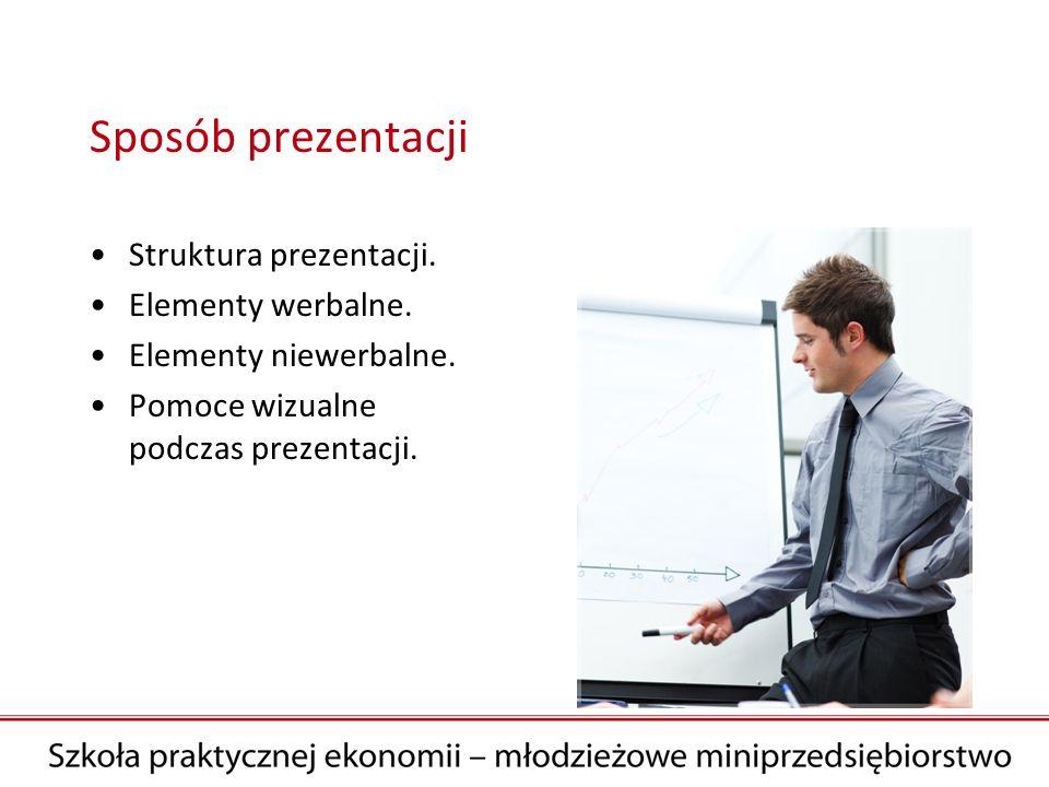 Sposób prezentacji Struktura prezentacji. Elementy werbalne.