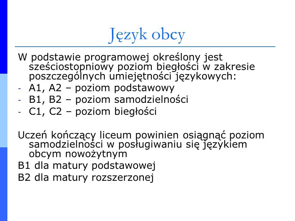 Język obcyW podstawie programowej określony jest sześciostopniowy poziom biegłości w zakresie poszczególnych umiejętności językowych: