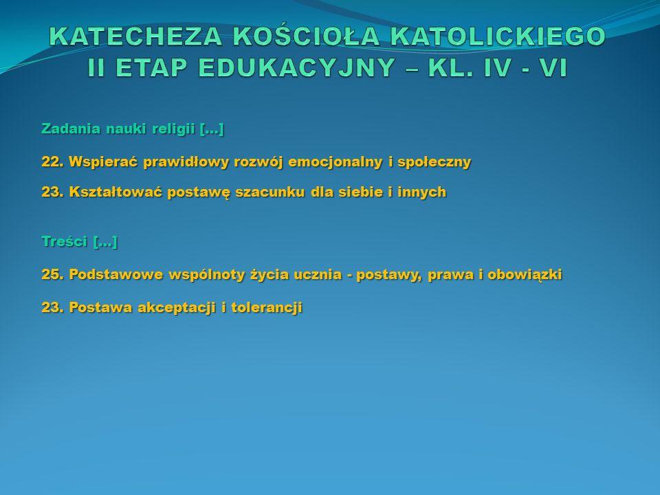 KATECHEZA KOŚCIOŁA KATOLICKIEGO II ETAP EDUKACYJNY – KL. IV - VI