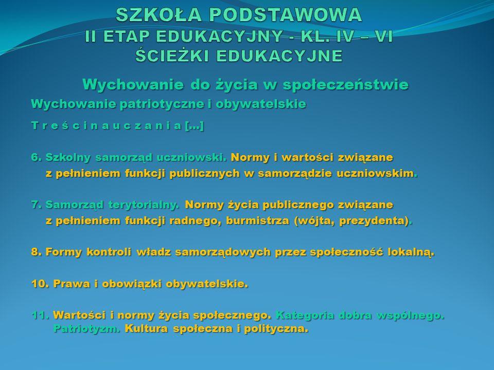 SZKOŁA PODSTAWOWA II ETAP EDUKACYJNY - KL. IV – VI ŚCIEŻKI EDUKACYJNE