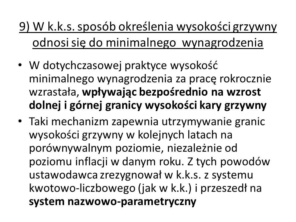 9) W k.k.s. sposób określenia wysokości grzywny odnosi się do minimalnego wynagrodzenia