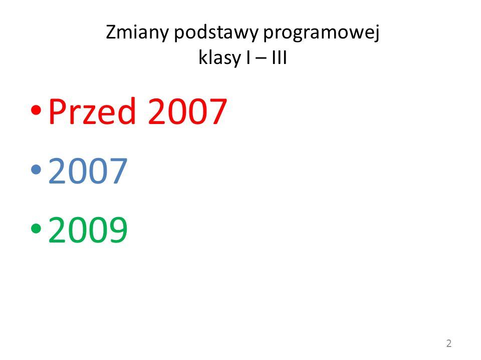 Zmiany podstawy programowej klasy I – III