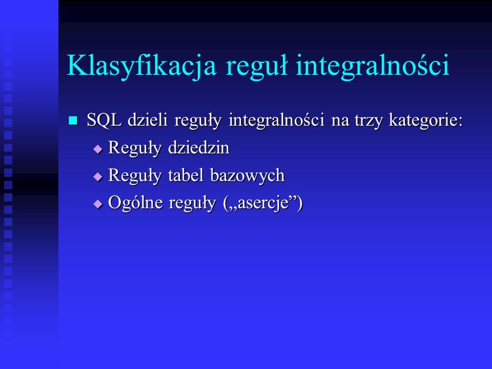 Klasyfikacja reguł integralności