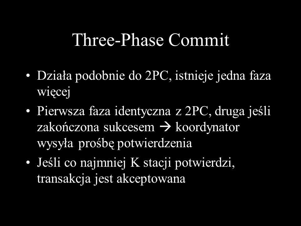 Three-Phase Commit Działa podobnie do 2PC, istnieje jedna faza więcej