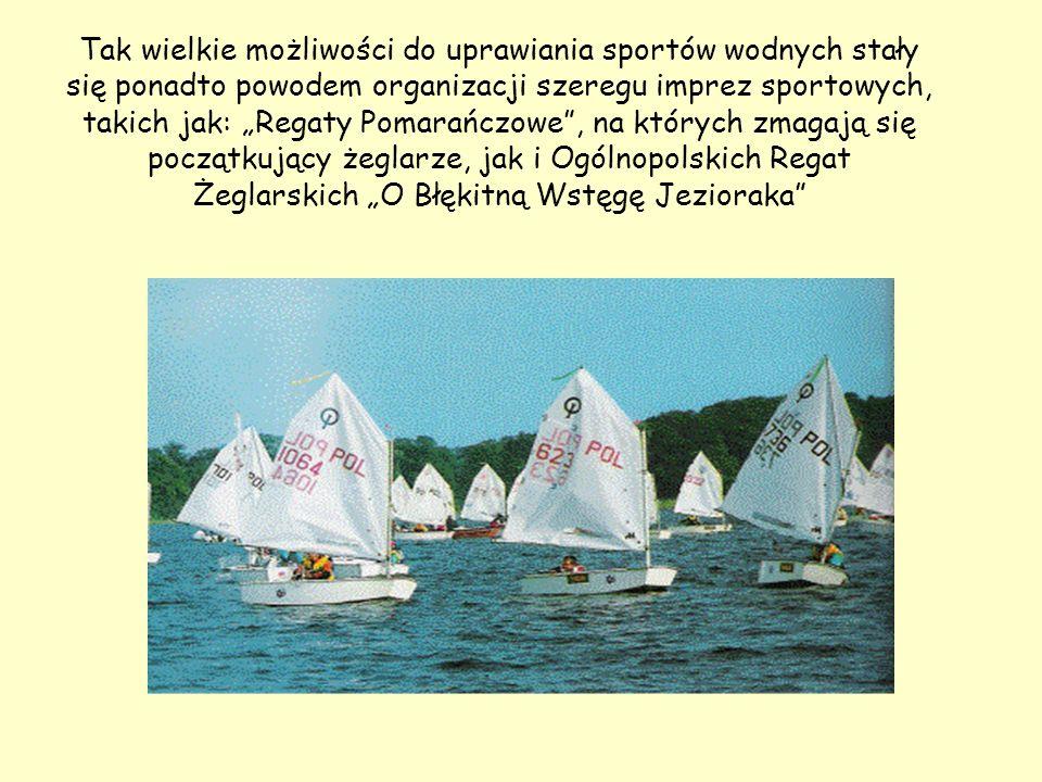 """Tak wielkie możliwości do uprawiania sportów wodnych stały się ponadto powodem organizacji szeregu imprez sportowych, takich jak: """"Regaty Pomarańczowe , na których zmagają się początkujący żeglarze, jak i Ogólnopolskich Regat Żeglarskich """"O Błękitną Wstęgę Jezioraka"""