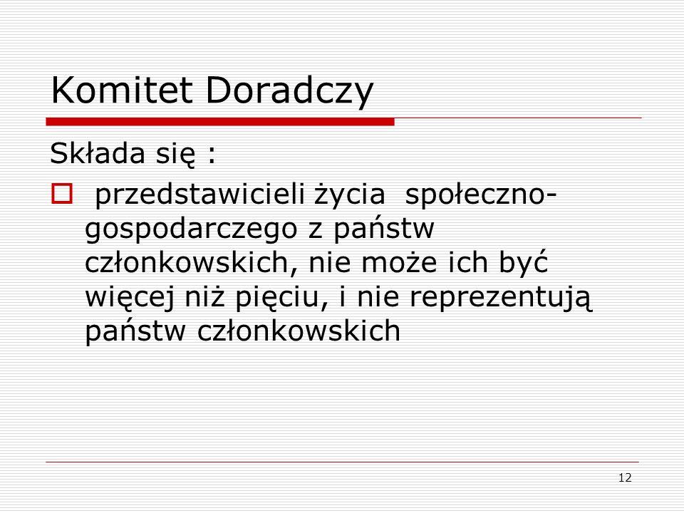 Komitet Doradczy Składa się :