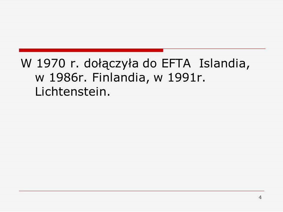W 1970 r. dołączyła do EFTA Islandia, w 1986r. Finlandia, w 1991r