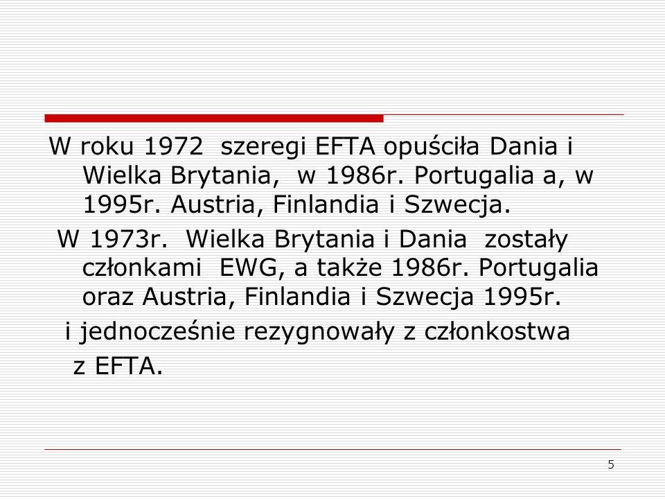W roku 1972 szeregi EFTA opuściła Dania i Wielka Brytania, w 1986r