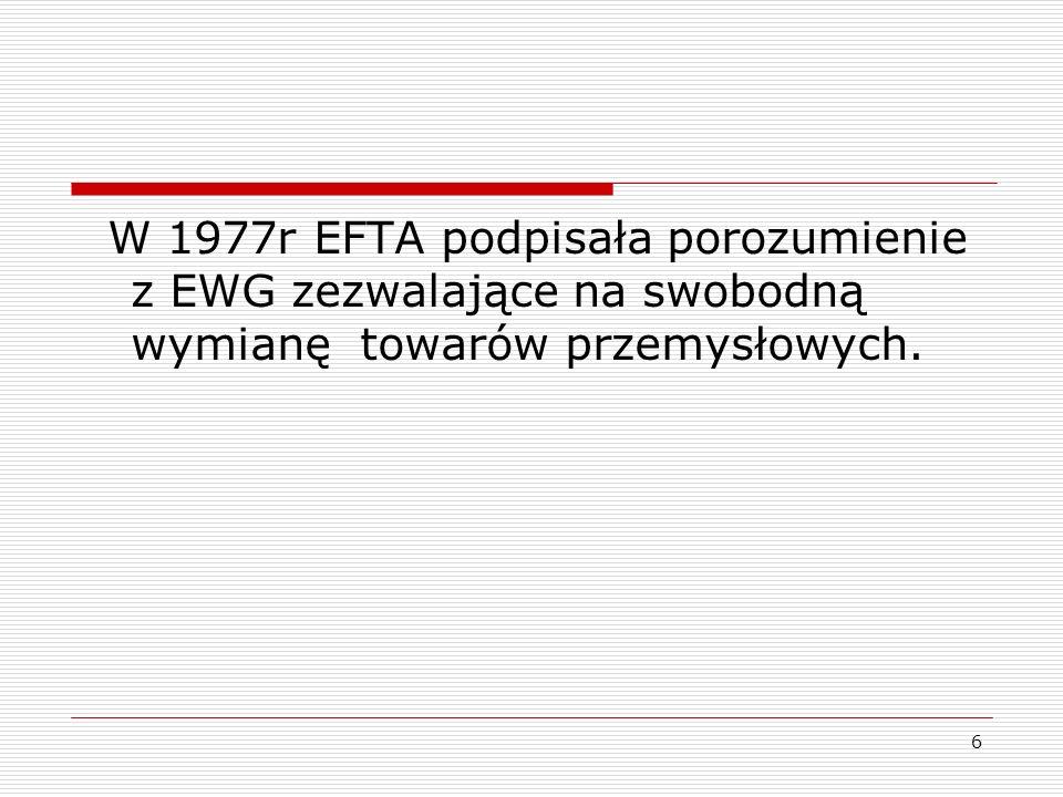 W 1977r EFTA podpisała porozumienie z EWG zezwalające na swobodną wymianę towarów przemysłowych.