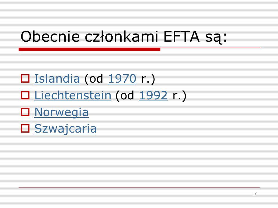 Obecnie członkami EFTA są: