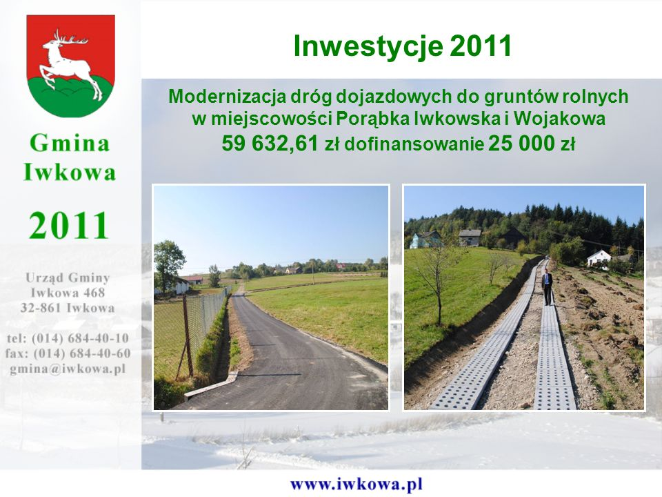 Inwestycje 2011 59 632,61 zł dofinansowanie 25 000 zł