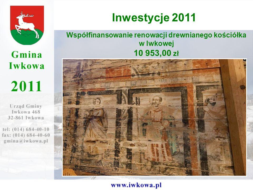 Inwestycje 2011 Współfinansowanie renowacji drewnianego kościółka w Iwkowej 10 953,00 zł