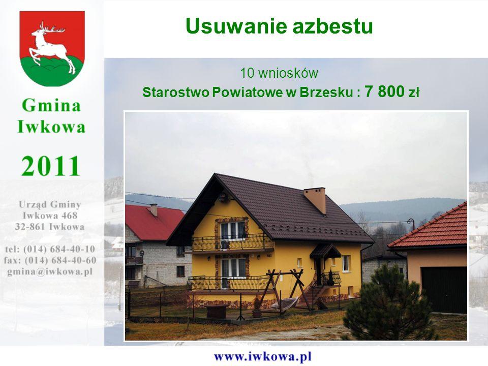 Usuwanie azbestu 10 wniosków Starostwo Powiatowe w Brzesku : 7 800 zł