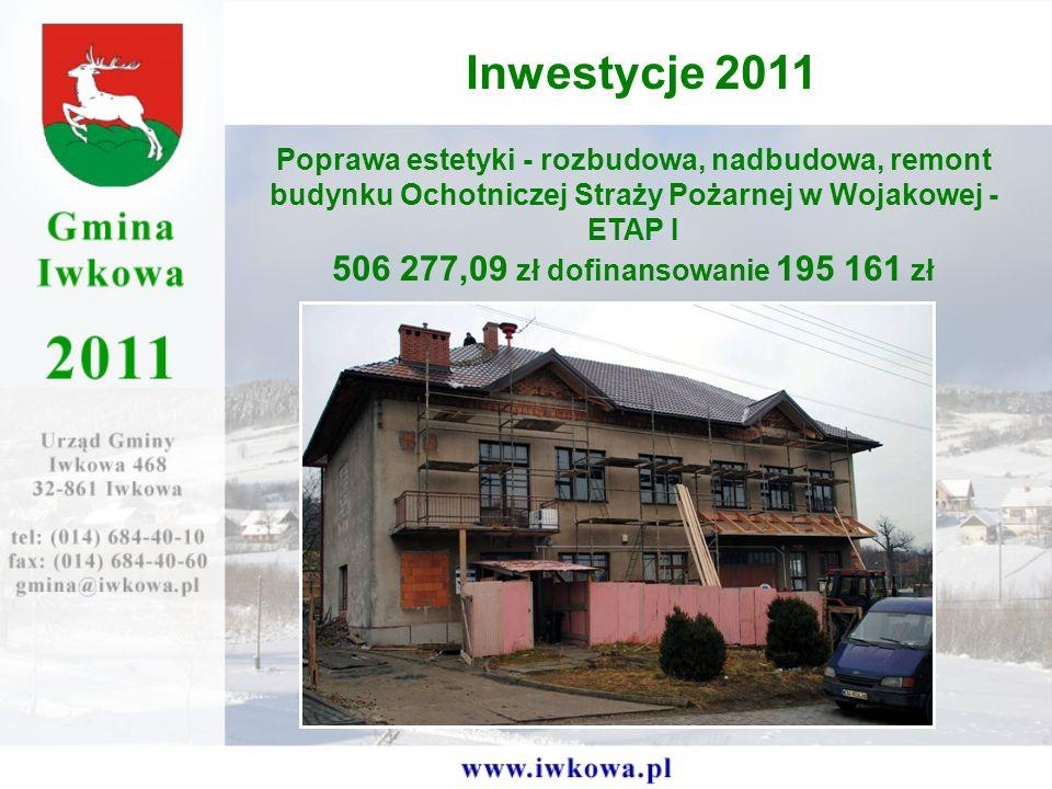 Inwestycje 2011 506 277,09 zł dofinansowanie 195 161 zł