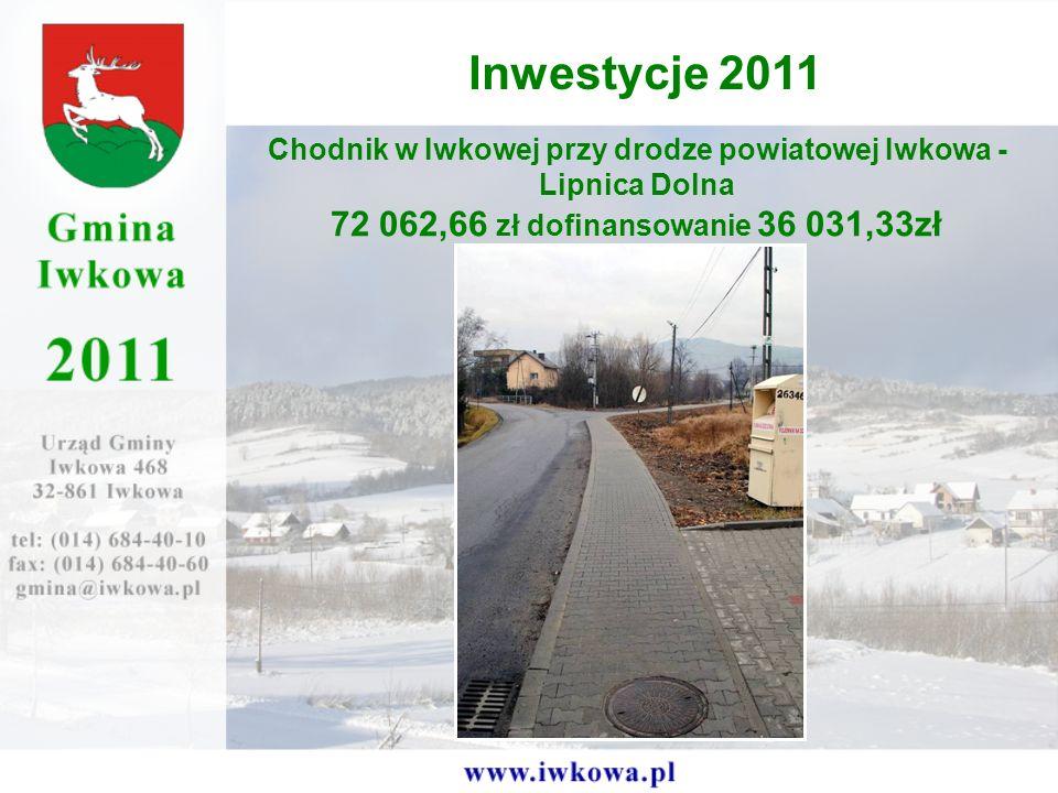 Chodnik w Iwkowej przy drodze powiatowej Iwkowa - Lipnica Dolna