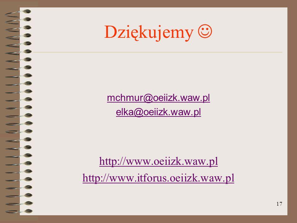 Dziękujemy  http://www.oeiizk.waw.pl http://www.itforus.oeiizk.waw.pl