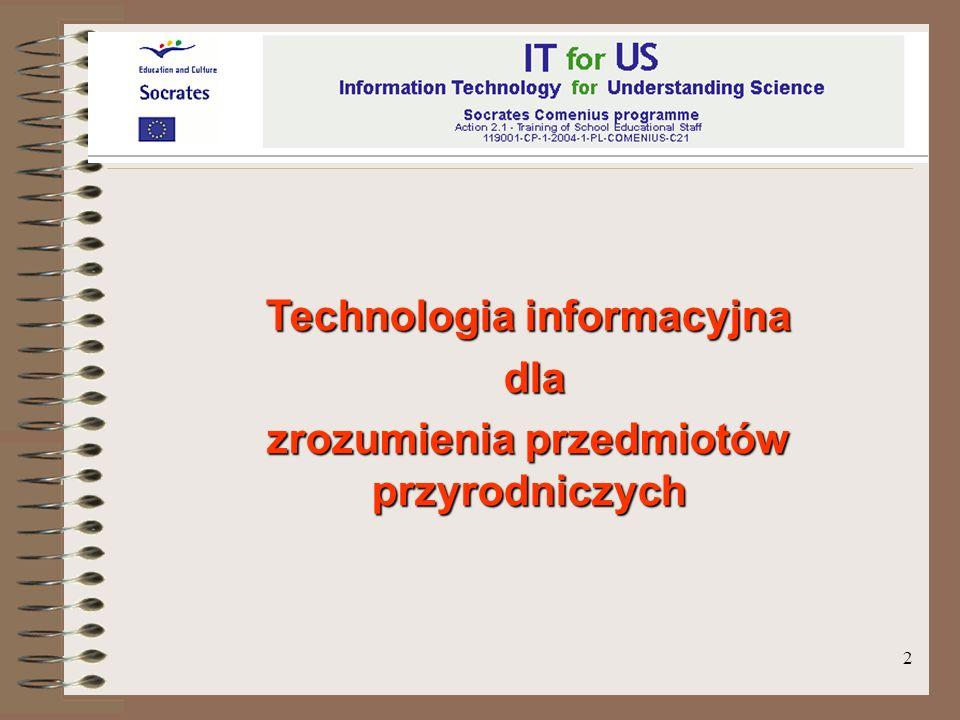 Technologia informacyjna zrozumienia przedmiotów przyrodniczych
