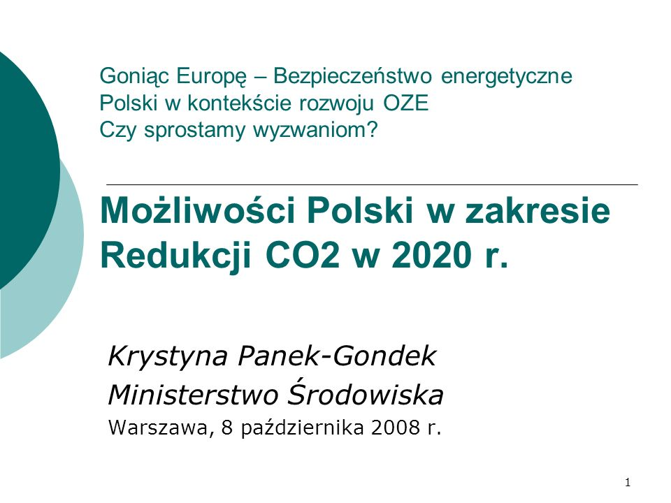 Krystyna Panek-Gondek Ministerstwo Środowiska