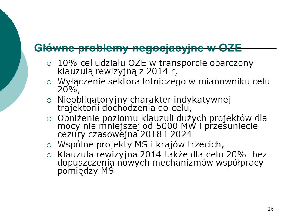 Główne problemy negocjacyjne w OZE