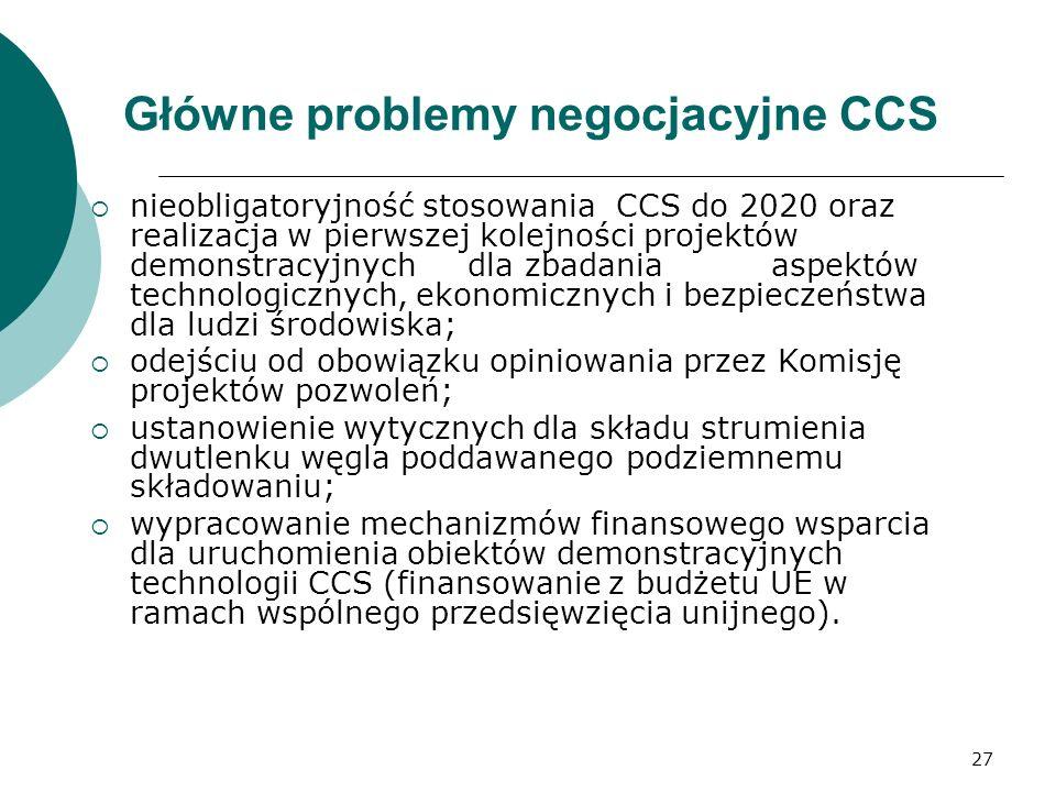 Główne problemy negocjacyjne CCS