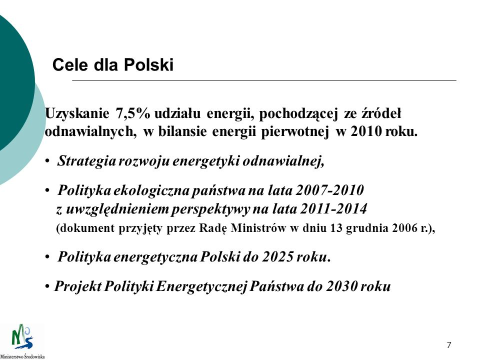 Cele dla Polski Uzyskanie 7,5% udziału energii, pochodzącej ze źródeł odnawialnych, w bilansie energii pierwotnej w 2010 roku.