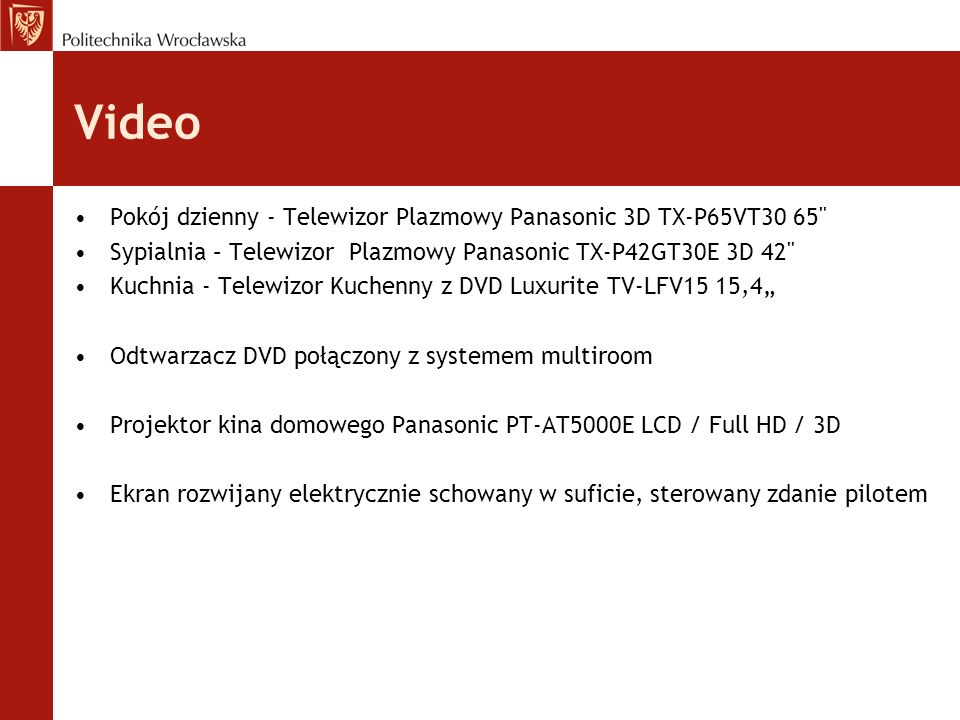 Video Pokój dzienny - Telewizor Plazmowy Panasonic 3D TX-P65VT30 65
