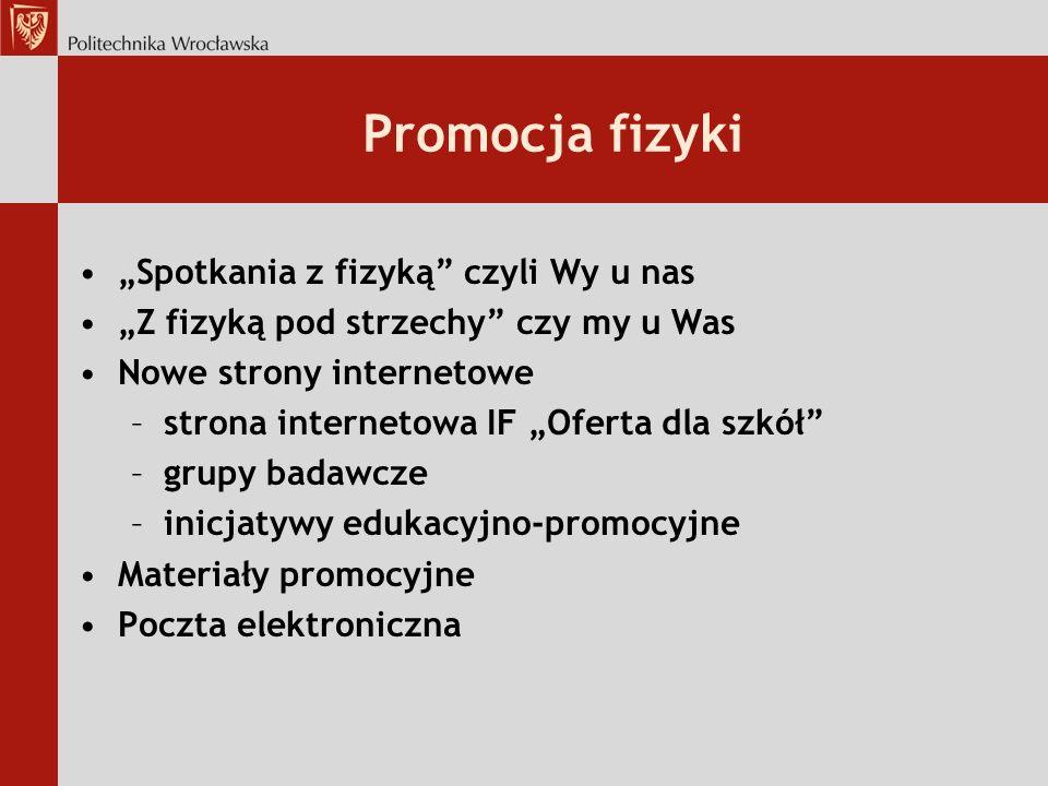 """Promocja fizyki """"Spotkania z fizyką czyli Wy u nas"""