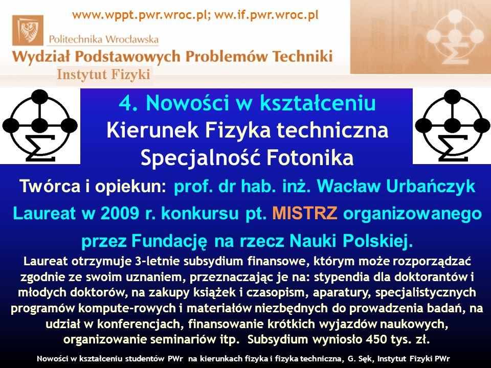 www.wppt.pwr.wroc.pl; ww.if.pwr.wroc.pl Kierunek Fizyka techniczna