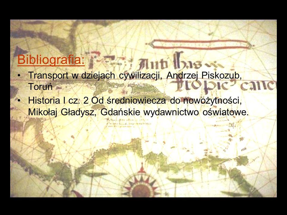 Bibliografia: Transport w dziejach cywilizacji, Andrzej Piskozub, Toruń.