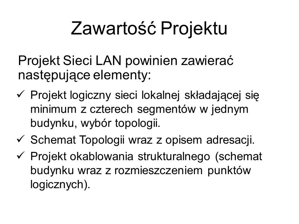 Zawartość Projektu Projekt Sieci LAN powinien zawierać następujące elementy: