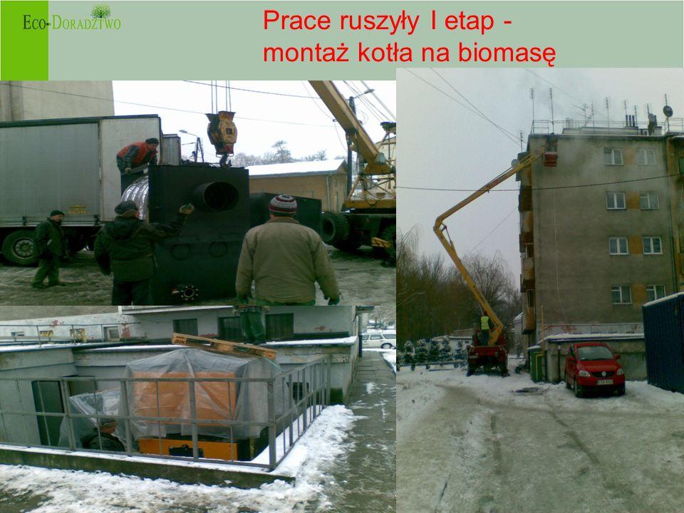 Prace ruszyły I etap - montaż kotła na biomasę -