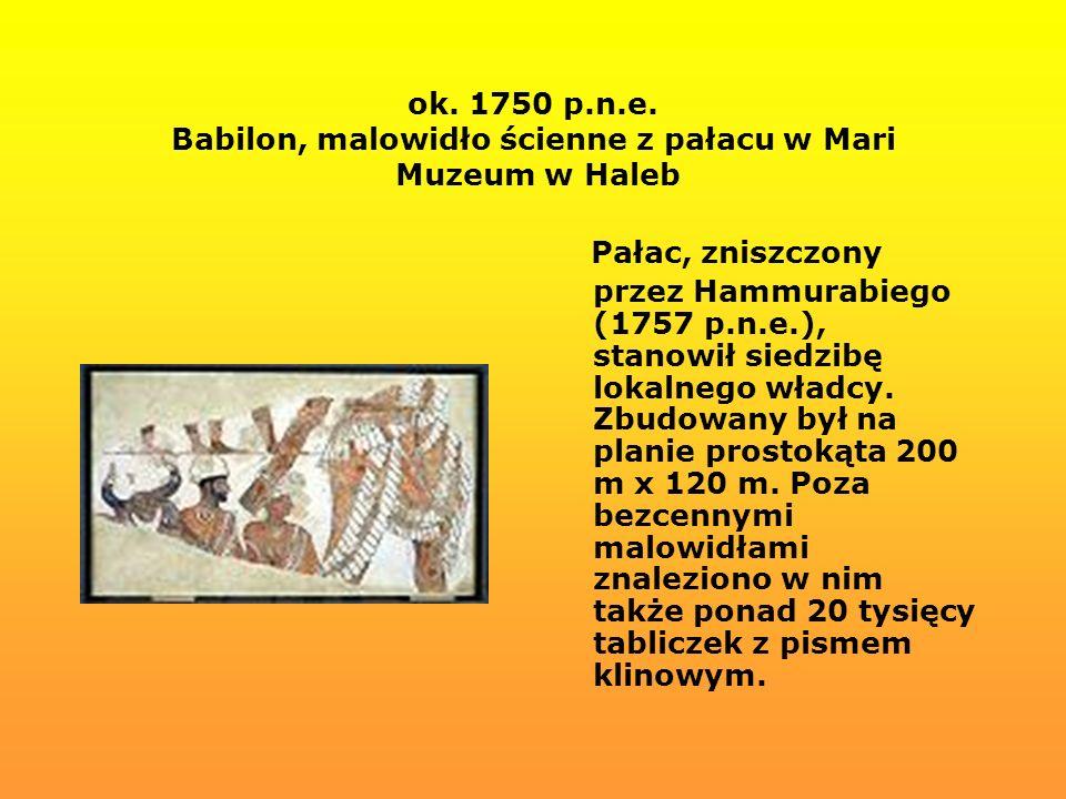 ok. 1750 p.n.e. Babilon, malowidło ścienne z pałacu w Mari Muzeum w Haleb