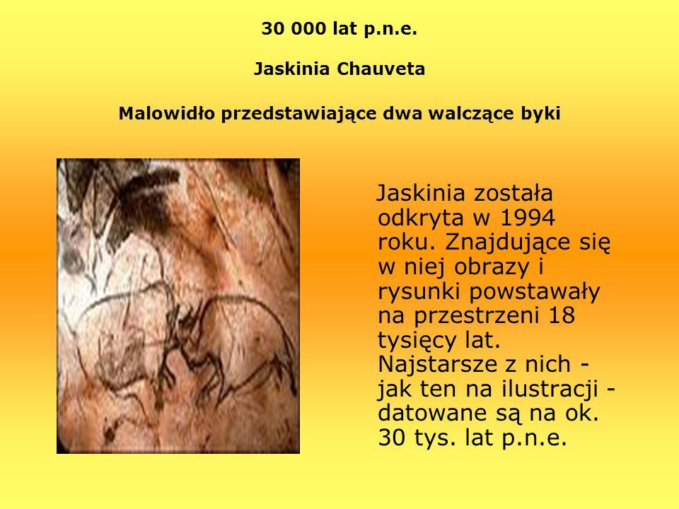 30 000 lat p.n.e. Jaskinia Chauveta Malowidło przedstawiające dwa walczące byki
