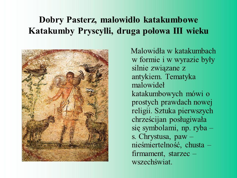 Dobry Pasterz, malowidło katakumbowe Katakumby Pryscylli, druga połowa III wieku