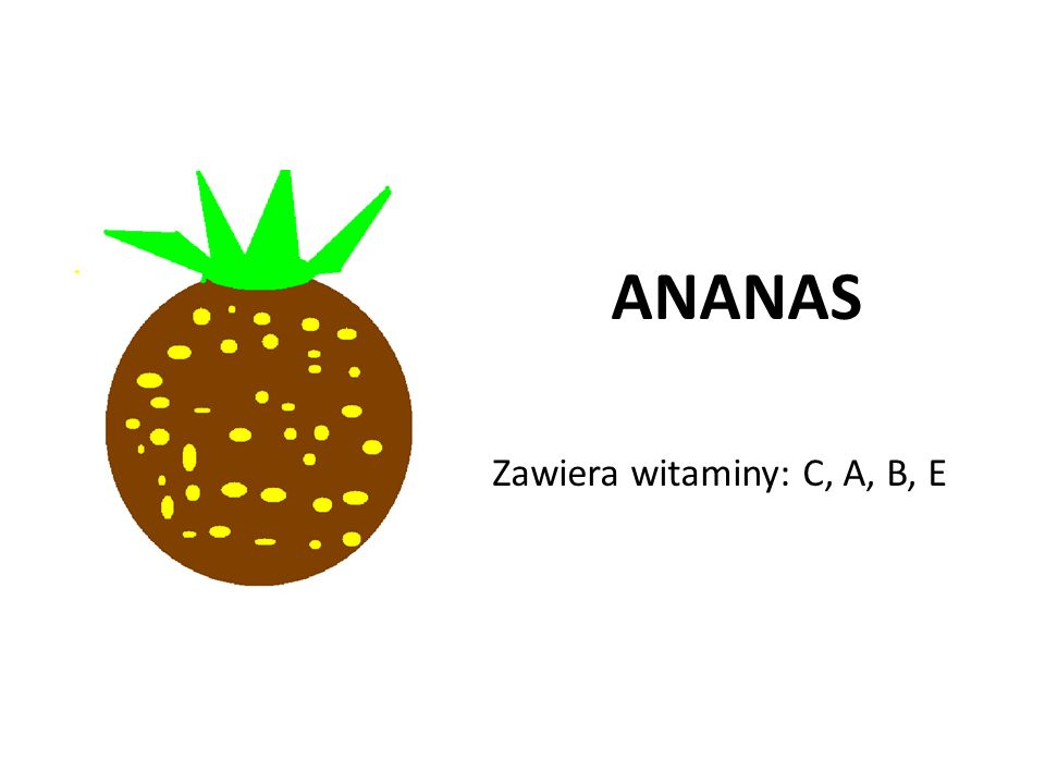 ANANAS Zawiera witaminy: C, A, B, E