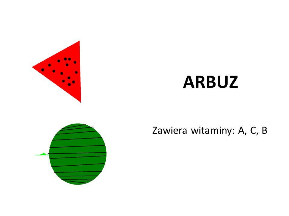 ARBUZ Zawiera witaminy: A, C, B