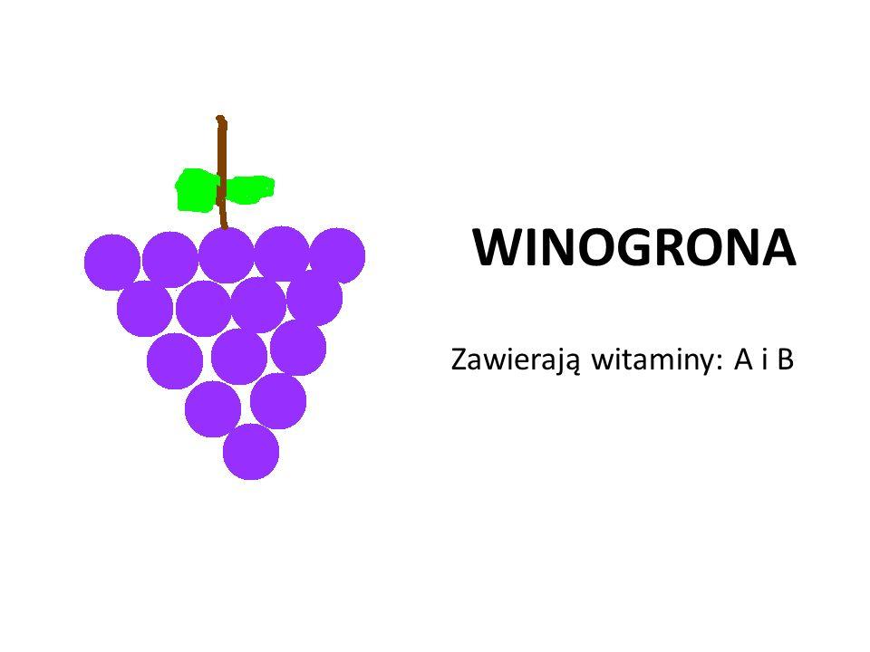 WINOGRONA Zawierają witaminy: A i B