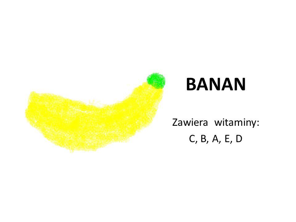 BANAN Zawiera witaminy: C, B, A, E, D