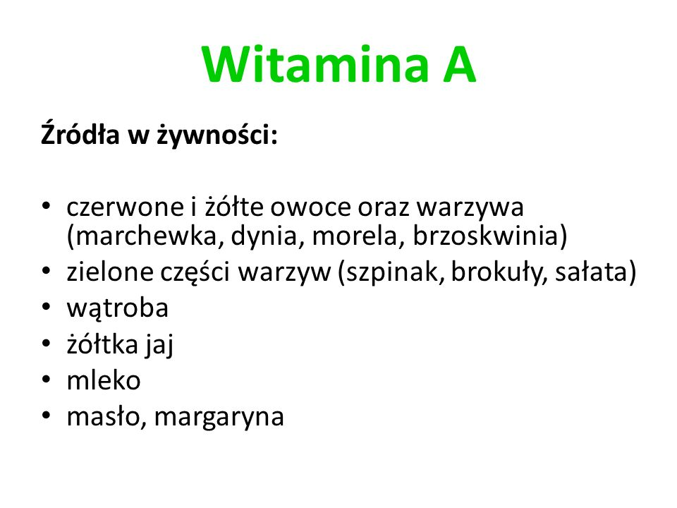 Witamina A Źródła w żywności: