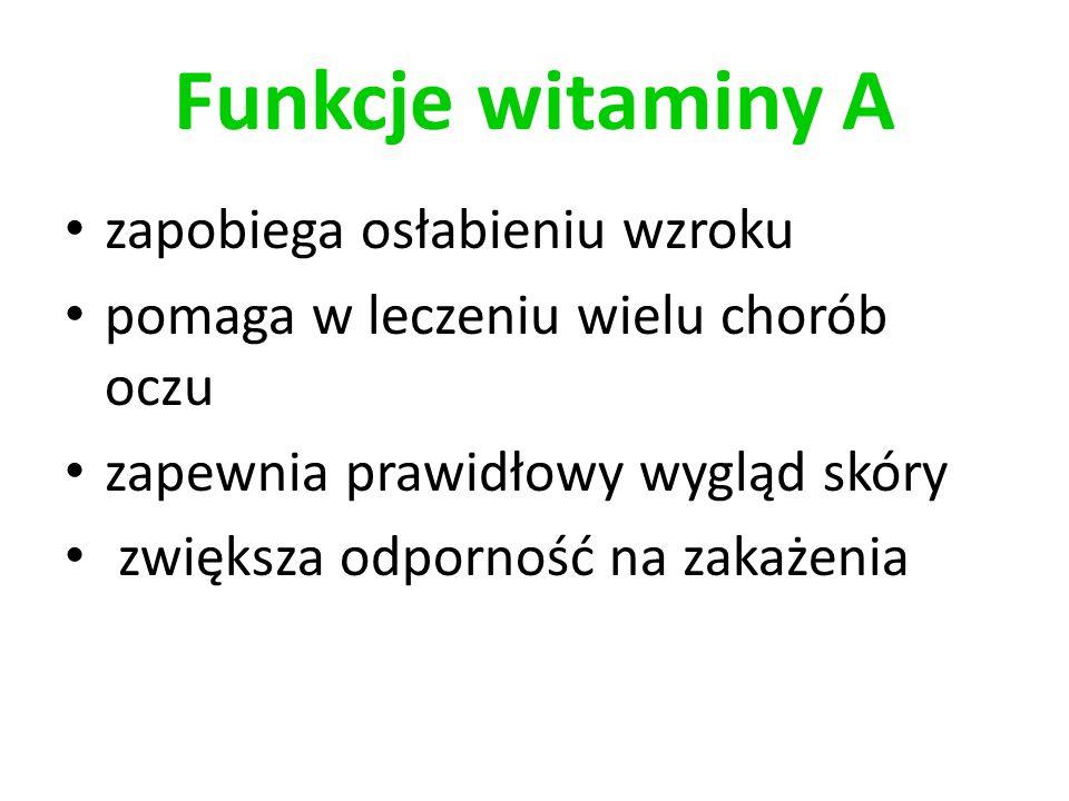 Funkcje witaminy A zapobiega osłabieniu wzroku