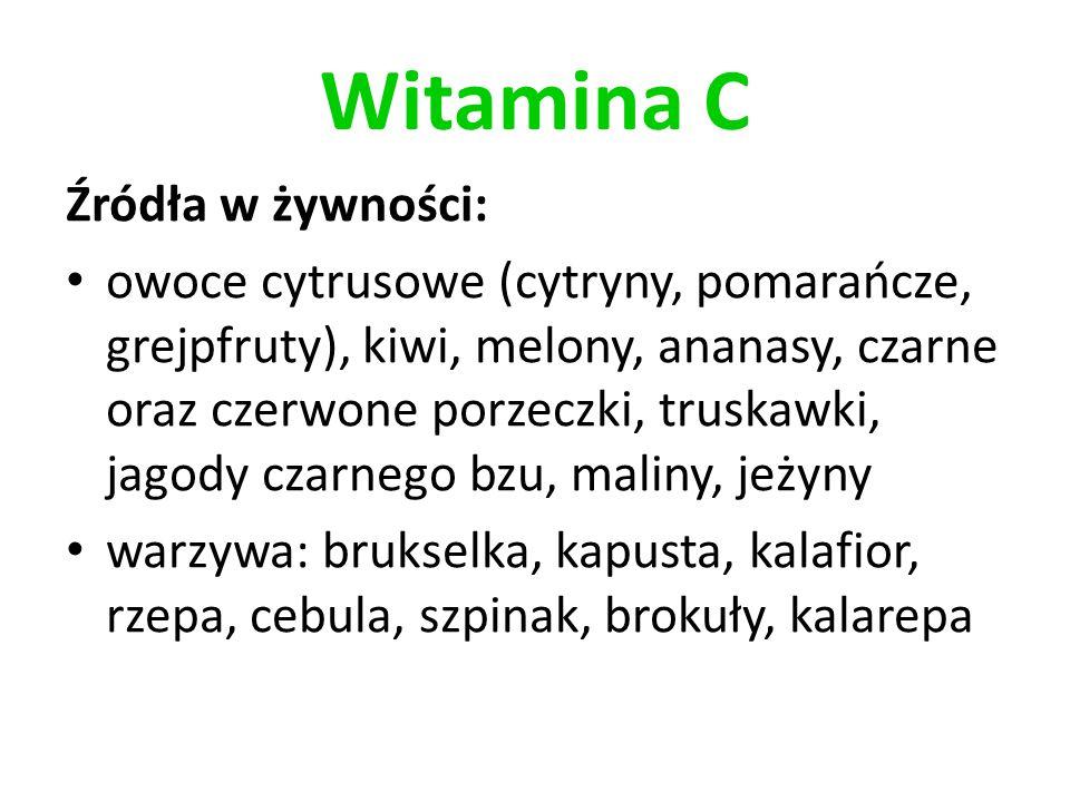 Witamina C Źródła w żywności: