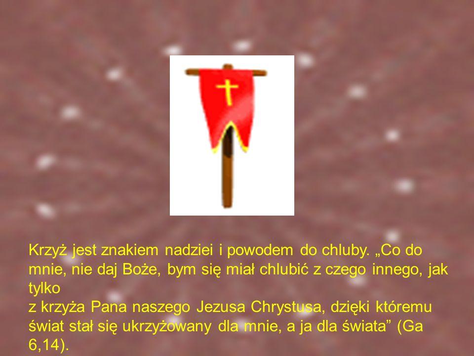 Krzyż jest więc znakiem nadziei i powodem do chluby
