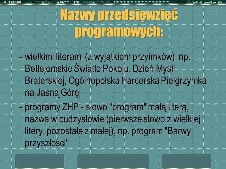 Nazwy przedsięwzięć programowych: