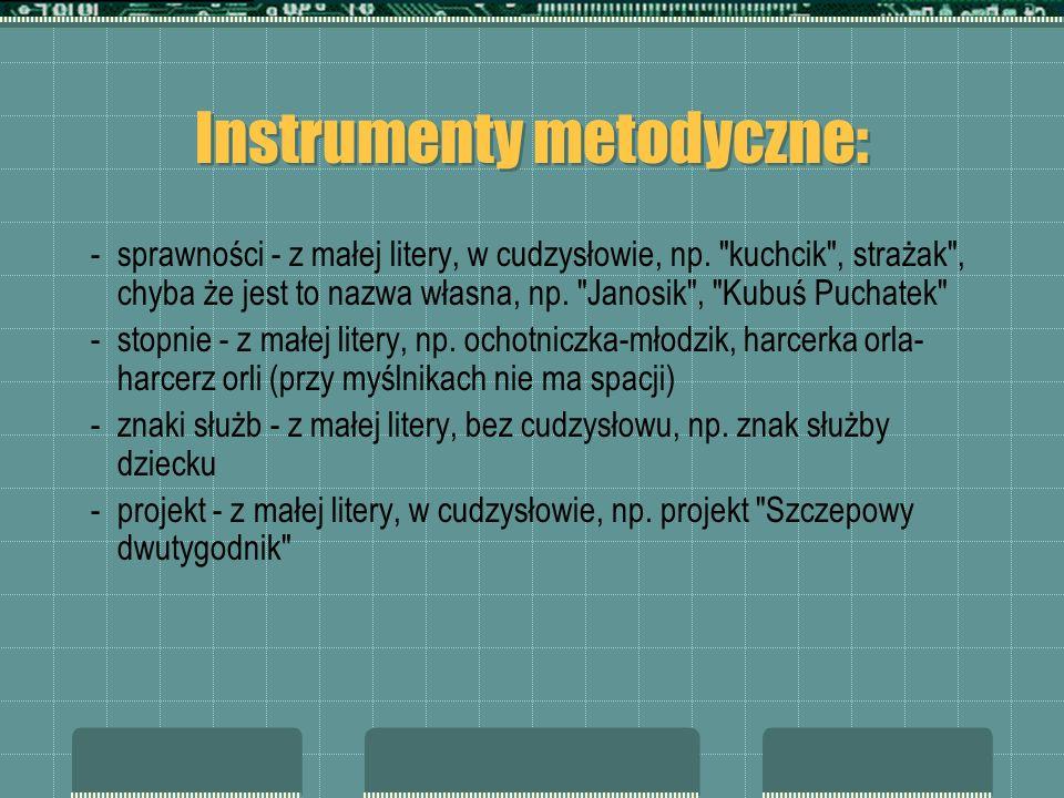 Instrumenty metodyczne: