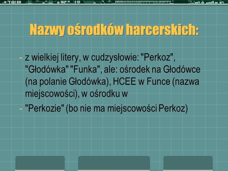 Nazwy ośrodków harcerskich: