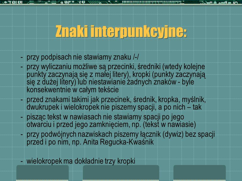 Znaki interpunkcyjne: