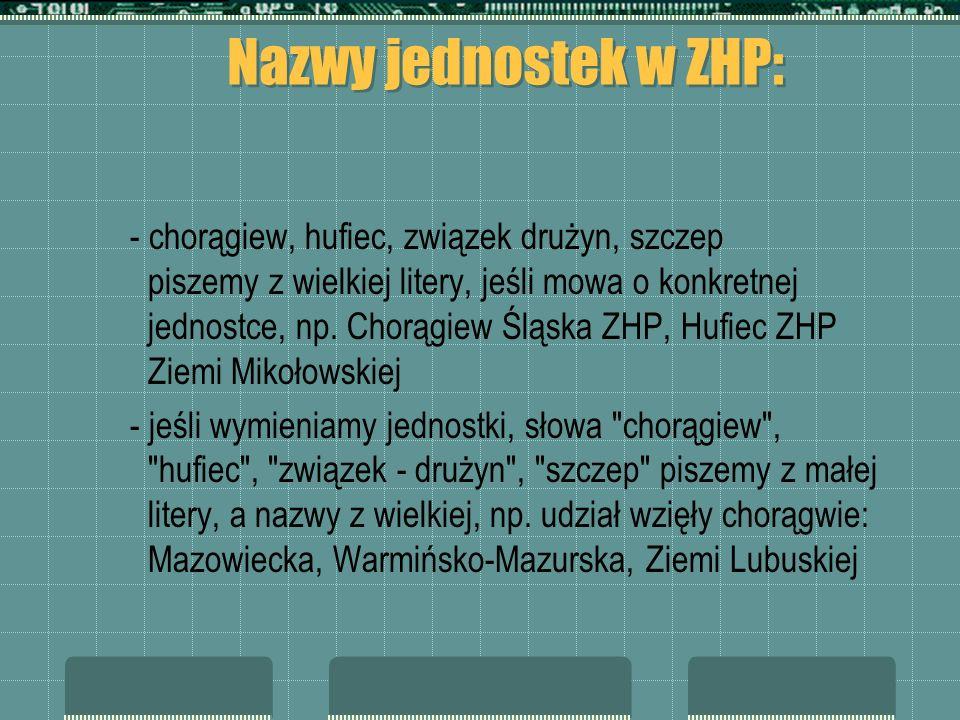 Nazwy jednostek w ZHP: