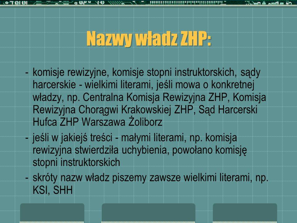 Nazwy władz ZHP: