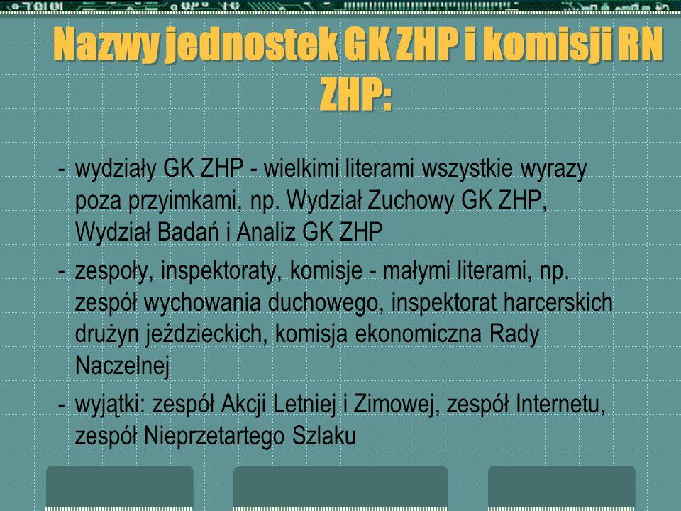 Nazwy jednostek GK ZHP i komisji RN ZHP: